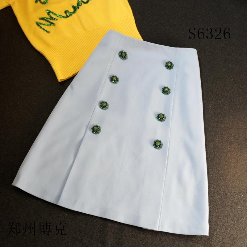 专业服装设计网 纸样图库 裙子 s6326 2016春夏新品时尚a字半身裙